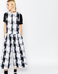 Asos White Oversized Jumpsuit In Gingham Multi