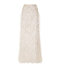 Alice Olivia Ashton Feather Fishtail Skirt Female Ivory