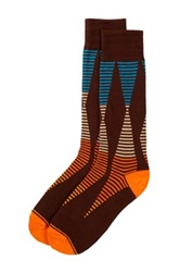 Joe's Jeans Striped Abstract Print Tall Socks Brown