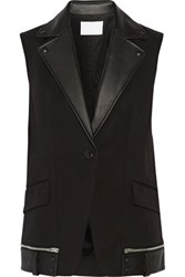 Alexander Wang Leather Trimmed Cotton Blend Vest Black