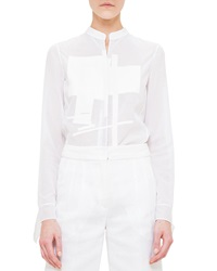 Akris Rectangle Embroidered Voile Blouse