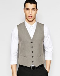 Selected Homme Skinny Houndstooth Vest With Stretch Light Brown