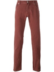 Jacob Cohen Slim Leg Trousers Red