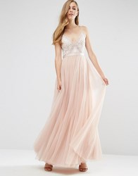 Needle And Thread Embroidery Motif Maxi Dress Blush Ecru Pink