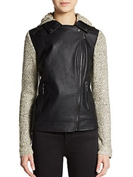 Saks Fifth Avenue Gray Knit Sleeve Faux Leather Jacket Black Oat