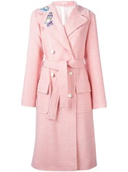 Olympia Le Tan Double Breasted Belted Coat Pink Purple