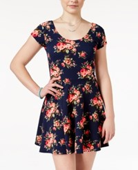 Planet Gold Juniors' Cap Sleeve Floral Print Fit And Flare Dress Navy Coral