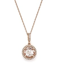 Bloomingdale's Morganite And Diamond Pendant Necklace In 14K Rose Gold 18 Pink White