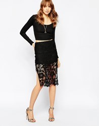 Wyldr Deal Breaker Pencil Skirt In Lace Black