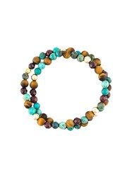 Nialaya Jewelry Bead Wrap Around Bracelet Brown