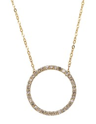 Lord And Taylor 14K Yellow Gold Diamond Circle Necklace Diamond Gold