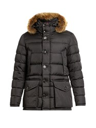Moncler Cluny Fur Trimmed Quilted Down Coat Black