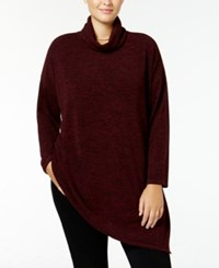 Rachel Roy Curvy Trendy Plus Size Turtleneck Tunic Sweater Only At Macy's Pinot Noir