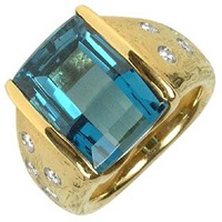 Torrini Polly Topaz And Diamonds Yellow Gold Ring