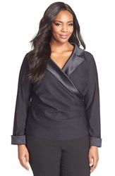 Alex Evenings Satin Trim Side Pleat Surplice Blouse Plus Size Black