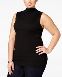 Inc International Concepts Plus Size Ribbed Mock Neck Top Only At Macy's Deep Black