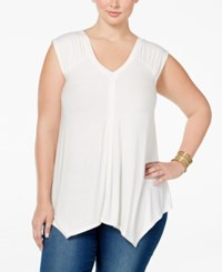 American Rag Trendy Plus Size V Neck Top Only At Macy's Egret