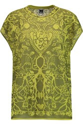 M Missoni Cotton Blend Jacquard Top Green
