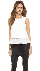 Madison Marcus Faux Leather Groove Layered Tank Optic White