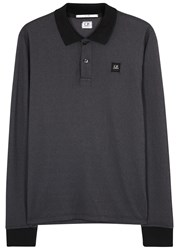 C.P. Company Charcoal Cotton Blend Polo Shirt Black