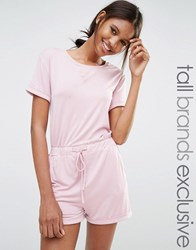 One Day Tall Short Sleeve Drawstring Playsuit Pink