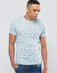 Bellfield Abstract Printed T Shirt Blue