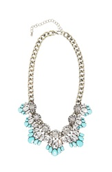 Robert Rose Stone Cluster Chain Necklace Turquoise Aqua