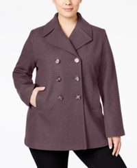 Kenneth Cole Plus Size Double Breasted Peacoat Only At Macy's Mauve