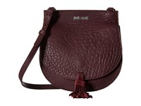 Just Cavalli Solid Pebbled Calf Skin Saddle Bag Wine