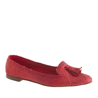 J.Crew Cleo Basket Weave Loafers Vintage Red