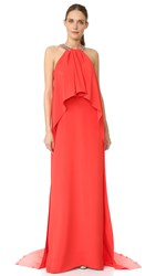 Monique Lhuillier Draped Halter Gown Geranium