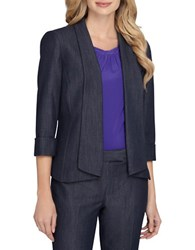 Tahari By Arthur S. Levine Fold Over Cuff Sleeve Open Front Jacket Chambray Blue