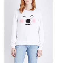 Wildfox Couture Polar Bear Fleece Sweatshirt Clean White
