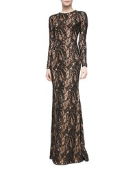 Carmen Marc Valvo Long Sleeve Lace Overlay Gown Women's