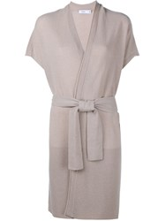 Vince Short Sleeve Belted Duster Cardigan Nude And Neutrals