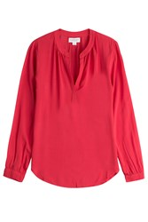 Velvet V Neck Blouse Red