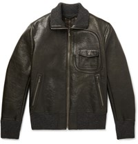 Bottega Veneta Waxed Leather Bomber Jacket Dark Green