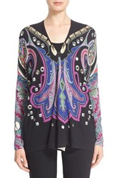 Women's Etro Stud And Paisley Print Silk And Cashmere Cardigan