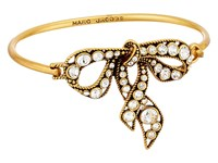 Marc Jacobs Bow Hinge Bracelet Crystal Antique Gold Bracelet Clear