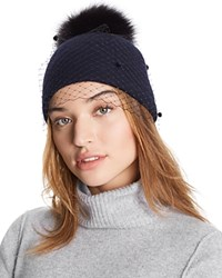 Helene Berman Knit Hat With Veil And Fox Fur Pom Pom Navy Black