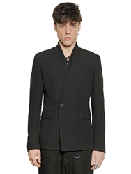 Tom Rebl Double Breasted Viscose And Linen Jacket Black