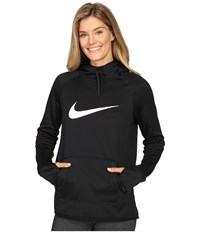 Nike Therma Pullover Training Hoodie Black Black Black White Women's Clothing