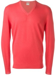 Massimo Alba V Neck Sweater Pink And Purple