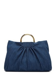 Stella Mccartney Ruched Denim Shoulder Bag Blue