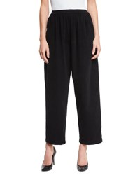 Eskandar Long Wide Leg Trousers Black