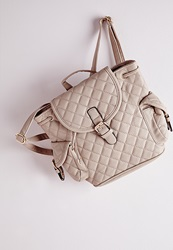 Missguided Quilted Buckle Detail Backpack Nude Beige