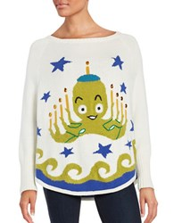 Whoopi Goldberg Octopus Printed Long Sleeve Knit Top Cream
