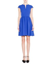 Giorgio Armani Cap Sleeve Fit And Flare Dress Egyptian Blue