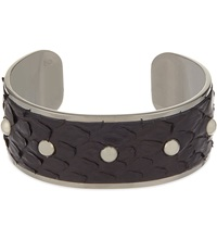 Aspinal Of London Athena Python Leather Cuff Bracelet S Black