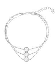 Lord And Taylor Round Cubic Zirconia Station Triple Strand Bracelet Silver